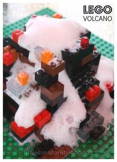 Build a LEGO Volcano Lego Volcano Experiment baking Soda Vinegar Volcano Volcano Science Experiment, Cool Science Experiments, Science Fair Projects, Lego Projects, Volcano Science Projects, Stem Projects, Science For Toddlers, Preschool Science, Science Activities