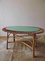 Table basse rotin vintage c589 vintage coffe table - Table basse rotin ...