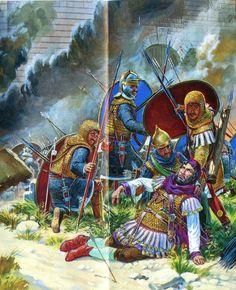 Soldados romanos de transición  siglo III, nótese el detalle de los almófares ya presentes en el ejercito romano. Cortesía de Igor Dzis
