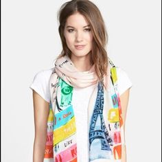 """Brand New Kate Spade Scarf Always wanted to sleep under the stars? Take tango lessons? Add this lightweight, beautifully designed watercolor scarf from kate spade to your wish list and remind yourself of what inspires you. 80"""" x 25"""". 100% modal. Hand wash cold, line dry. By kate spade New York kate spade Accessories Scarves & Wraps"""