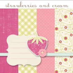 Strawberries and Cream -- Free Mini Digi Scrap Kit by Pumpkins & Posies