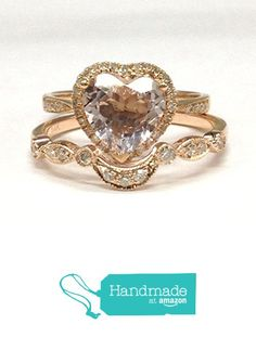 Heart Shaped Morganite Engagement Ring Bridal Set Pave Diamond Wedding 14K Rose Gold 8mm Curved Band from the Lord of Gem Rings https://www.amazon.com/dp/B01GZ1J4L8/ref=hnd_sw_r_pi_dp_BruGxb7H792C4 #handmadeatamazon