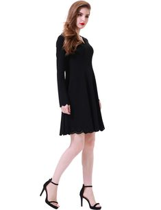 27af336e28e Aphratti Womens Scallop Stretchy Knit Cute Long Sleeve Fit and Flare Dress  Black Large