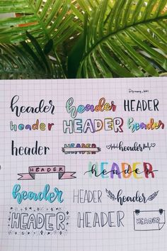 Best Bullet Journal Header & Title Ideas For 2020 - Crazy Laura Bullet Journal Headers, Bullet Journal Banner, Bullet Journal Writing, Bullet Journal 2019, Bullet Journal Aesthetic, Bullet Journal Ideas Pages, Bullet Journal Inspiration, Journal Fonts, Book Journal