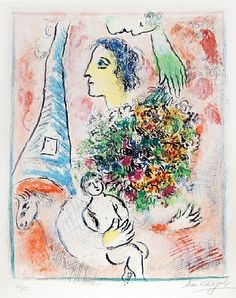 Marc Chagall, Offrande à la Tour Eiffel (Tribute to the Eiffel Tower), 1964