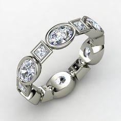 14K White Gold Ring with Diamond - Elliptical Square Band | Gemvara