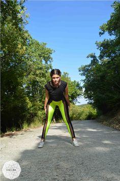 Black Neon Yellow Leggings, Women Leggings, Workout Leggings, Gym Clothes, Stretch Leggings, Yoga Leggings, Spandex Pants, Sexy Leggings.