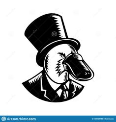 Retro woodcut style illustration of a duck-billed platypus, a semiaquatic egg-laying mammal endemic to eastern Australia, wearing a top hat and business suit on isolated background in black and white Duck Billed Platypus, Etchings, Mammals, Egg, Wildlife, Logo Design, Suit, Australia, Black And White