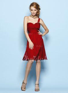 Bridesmaid Dresses - $105.42 - A-Line/Princess One-Shoulder Knee-Length Chiffon Bridesmaid Dress With Ruffle Beading (0075057150)