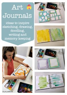 Prep your art journals for sketching, doodling, writing and memory keeping – great summer scrapbook ideas. Art journal ideas for kids to scrap book their summer Art Journal Pages, Journal Layout, Art Journals, Journal Ideas, Visual Journals, Journal Prompts, Book Projects, Projects For Kids, Crafts For Kids