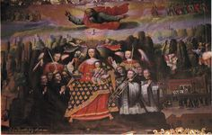 The Virgin of Monserrat, 1693 . Cusco, Peru. Francisco Chihuantito's painting, located in the parochial church of Chichero, Cusco, includes a depiction of a trombonist in a prominent position near the center of the painting. A cornetto player stands to the right of the trombonist, while two other similarly-dressed musicians, probably playing shawms, stand behind.