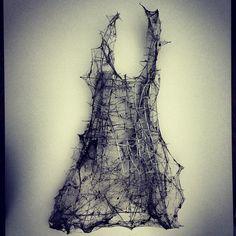 Cobweb and thorns / louise richardson- creepy but soft Textile Design, Textile Art, Art Brut, Fashion Art, Fashion Design, Installation Art, Female Art, Wearable Art, Fiber Art
