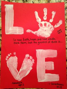 LOVE: Hand & Foot Print on wood. Perfect parent/grandparent gift for Valentines .LOVE: Hand & Foot Print on wood. Perfect parent/grandparent gift for Valentines Day or any day.Easy and Fun Valentines Cards for Kids to Toddler Valentine Crafts, Kinder Valentines, Baby Crafts, Toddler Crafts, Valentine Ideas, Valentine Cards, Valentines Ideas For Babies, Valentine For Dad, Valentines Day Crafts For Preschoolers