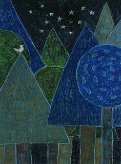 柿本 芳枝 / Yoshie Kakimoto Illustration: Original Tender Is The Night, Reference Images, Japanese Artists, Something Blue, Birds, Graphic Design, Lettering, Painting, Trees