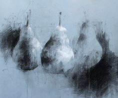 """Jake Muirhead, """"Pears"""" black and white conte on blue paper"""