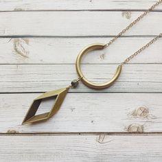 Rhombus Necklace  Brass Necklace  Minimalist by MarleeCWatts