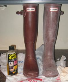 - Vineyard Loveknots -: How To Clean Hunter Boots...goo gone. Then hunter boot buffer spray.