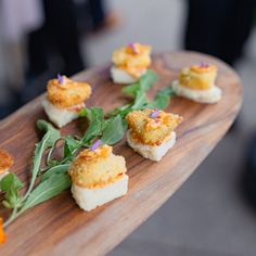 wedding appetizer inspo: fried green tomatoes on mini house-made biscuits, topped with pimiento spread & micros grown at Big Delicious Planet Sour Plum, Lunch Delivery, Greens Restaurant, Wedding Appetizers, Fried Green Tomatoes, Daily Specials, Breakfast Burritos, Urban Farming, House Made