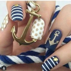 Blue white gold nautical nails with anchor dots stripes