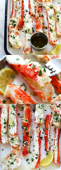 Garlic Lemon Butter Crab Legs – crazy delicious king crab legs in garlic herb .- Garlic Lemon Butter Crab Legs – crazy delicious king crab legs in garlic herb … Garlic Lemon Butter Crab Legs – crazy delicious king… - I Love Food, Good Food, Yummy Food, Tasty, Seafood Dinner, Seafood Appetizers, Seafood Buffet, Seafood Meals, Seafood Broil