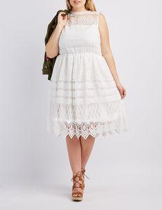 Plus Size Crochet Overlay Skater Dress | Charlotte Russe