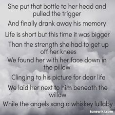 Whiskey Lullaby ~ Brad Paisley & Alison Krauss the one sad song that I like :'(