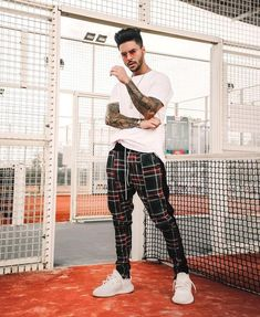 is wearing our velour plaid track pants. Black Men Street Fashion, Men With Street Style, Mens Fashion, Trendy Fashion, Stylish Mens Outfits, Casual Outfits, Men Casual, Men Looks, Moda Blog