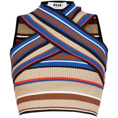 MSGM Bandage Top found on Polyvore featuring tops, crop top, shirts, blue, blue top, blue striped shirt, halter top, surplice top and halter shirts
