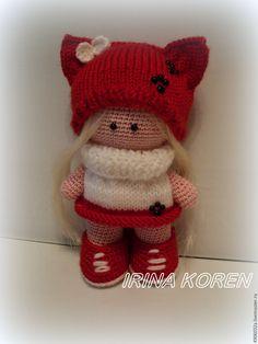 Купить вязаная куколка - ярко-красный, кукла ручной работы, зайка, Вязание крючком ♡