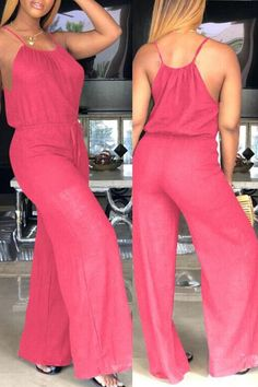 lovelywholesale / Cheap Jumpsuit Lovely Trendy Loose Red One-piece Jumpsuit Black One Piece Jumpsuit, Moda Afro, Red One Piece, Denim Bomber Jacket, Jumpsuit With Sleeves, Wrap Jumpsuit, Womens Fashion Online, Types Of Sleeves, Spring Outfits