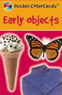 "Early Objects Pocket Color Flashcards by Speechmark Publishing. $15.95. Depicts common objects that children meet in their daily experiences.. Teach expressive and receptive labels for familiar objects.. 36 full color photo flashcards that measure 3"" x 4 1/2"". These cards show objects that young children meet in everyday life such as clothes, toys, animals, food, things in the garden and around the house. Cards include: boots, sweater, trousers, coats, teddy, puzzle, car, ball, j..."