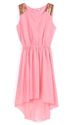 Pink Sequined Shoulder Sleeveless Dipped Hem Dress SALE