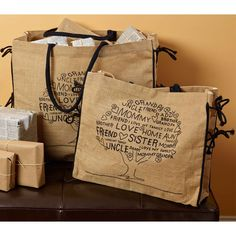 """Family Tree"" Small Burlap Tote"