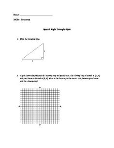 pythagorean theorem, pythagorean triples, and solving 30-60-90 & 45-45-90 triangles 12 questions with multiple parts
