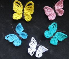 "Very Easy ""Flappy Winged"" Crochet Butterfly Tutorial For Beginners Crochet Butterfly Pattern, Crochet Birds, Crochet Leaves, Crochet Motif, Easy Crochet, Crochet Flowers, Crochet Stitches, Knit Crochet, Crochet Patterns"