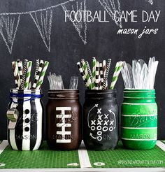Super Bowl party idea using football party mason jars painted as footballs, referees, football field and football game plan chalkboard. Football Party Decorations, Football Crafts, Football Themes, Football Centerpieces, Football Decor, Football Games For Kids, Sports Themed Centerpieces, Football Bedroom, Birthday Decorations For Men