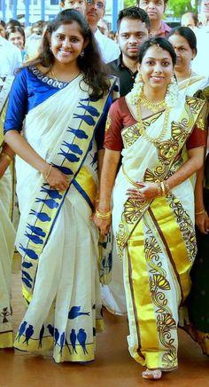 Saree Painting Designs, Fabric Paint Designs, Hand Painted Sarees, Hand Painted Fabric, Tribal Fashion, India Fashion, Kerala Traditional Saree, Kerala Saree Blouse, Saree Wearing Styles