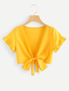 Amazing offer on MAKEMECHIC Women's Loose Ruffle Short Sleeve Chiffon Blouse Tie Front Crop Tops online - Looknewclothingshop Girls Fashion Clothes, Girl Fashion, Fashion Outfits, Cropped Tops, Crop Tops Online, Tie Front Crop Top, Ruffle Shorts, Tie Blouse, All About Fashion