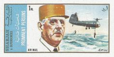 Stamp: Charles de Gaulle and aircrafts (Sharjah) (Charles de Gaulle and aircrafts) Mi:AE-SH 886B