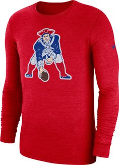 Nike Men s New England Tri-Blend Historic Crackle Red Long Sleeve Shirt eca45435e
