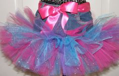 Sparkle Tutu Jean Skirt with Blues, Purples and Pinks. $25.00, via Etsy.