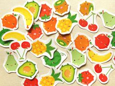 Cute Fruits Planner Sticker Pack of 30  Kawaii by BeagleCakesArt