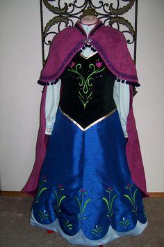 Custom Anna Frozen Skirt, Velvet Vest, Cape, Blouse