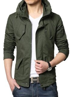 13affc26173  Affiliate  GenericMen Generic Men s Large Size Front-Zip Travel Safari  Trim-Fit Cargo Jacket at Amazon Men s Clothing store