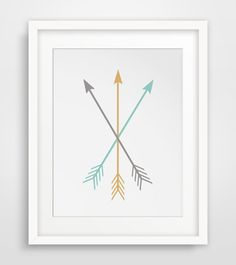 Arrow Wall Art, Three Crossed Mustard Yellow & Turquoise Blue Arrows, Arrow Print, Bohemian Art, Arrow Wall Print, Yellow, Blue, Wall Print
