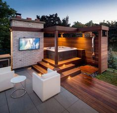 50 Pergola Design Ideas to Enhance your Patio this Summer - If you are in love with some appealing house decor ideas, that have a great touch of royalty in them - Hot Tub Gazebo, Hot Tub Backyard, Backyard Patio Designs, Pergola Designs, Pergola Kits, Pergola Patio, Pergola Ideas, Cool Backyard Ideas, Pergola Carport