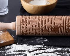 A maze-engraved rolling pin.