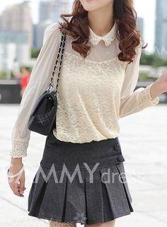 $13.20 -- Single-breasted Pleated Ruffles Packet Buttock Worsted Solid Color Skirt For Women