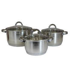 SMAKFEST 6 PC Stainless Steel 5 Ply Bottom Cookware Set (Induction Compatible)