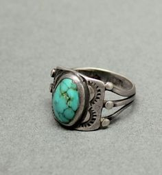 1930 Navajo Ring with Oval Turquoise